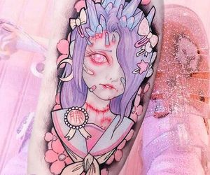 pastel, pink, and tatto image