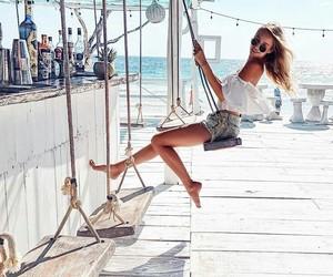 beach, carefree, and fashion image