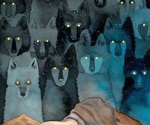 wolf, art, and night image