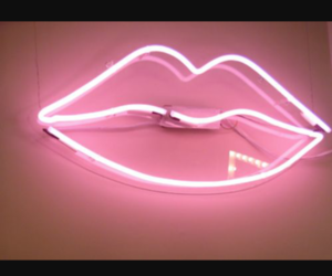 lips, pink, and neon image
