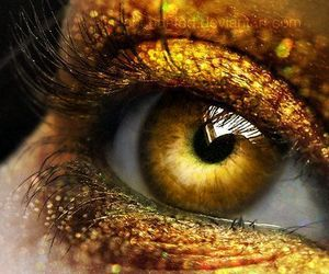 art, eyes, and gold image