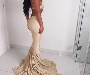 aesthetic, gold, and long dress image