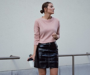 blog, cashmere, and leather skirt image
