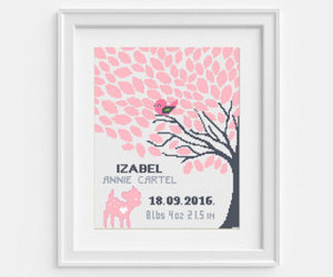 etsy, birth announcement, and baby cross stitch image