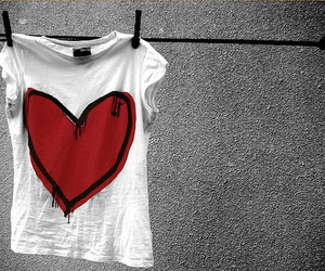 heart, red, and shirt image