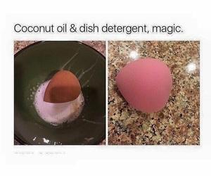 makeup, coconut oil, and beauty blender image