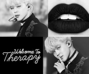 aesthetic, jimin, and black and white image