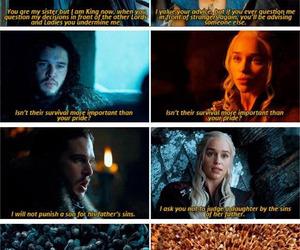 game of thrones, daenerys targaryen, and jon snow image