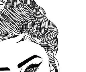 girl, makeup, and outline image