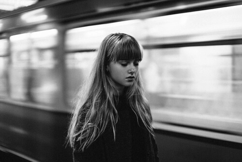 girl, black and white, and train image