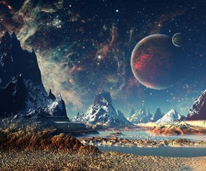 moon, planets, and sky image