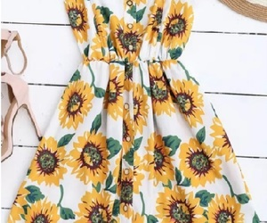 dress, flower, and sunflowers image