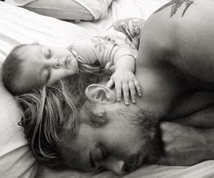 black and white, boy, and father image