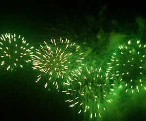 dark, fireworks, and green image