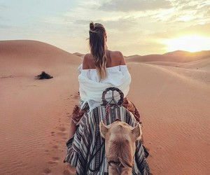 beautiful, camel, and girl image