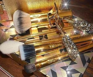 makeup, gold, and luxury image