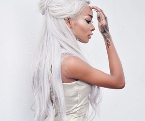 hair, tattoo, and white image