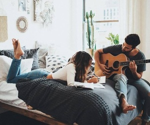 couple, guitar, and love image