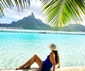 beach, palmtrees, and tahiti image