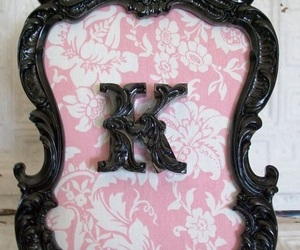 black & white, pink, and plaque w initials image