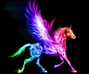colorfull, fire, and pegasus image