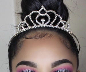 glitter, makeup, and hair image