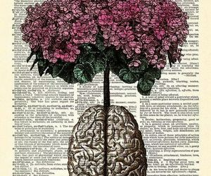 flowers, brain, and art image