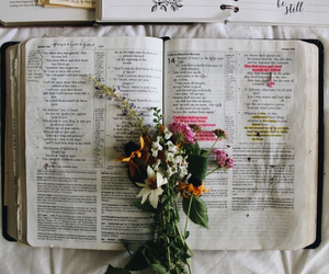 bible, flowers, and book image