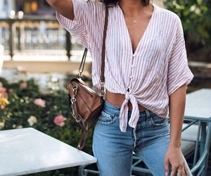 bag, blouse, and fashion image