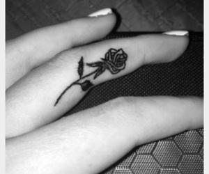 b&w, tattoo, and finger tattoo image