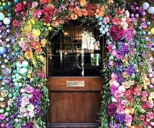 flowers, door, and colors image