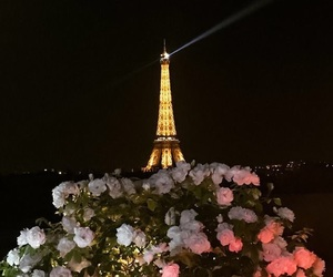 eiffel tower, trip, and flowers image