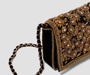 bag, embroidery, and gold image