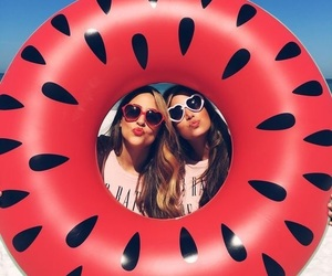 summer, friends, and watermelon image