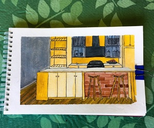 art, gouache, and kitchen image
