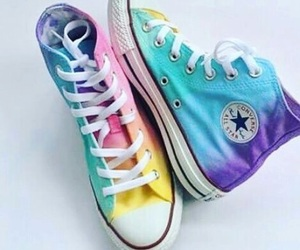 converse, rainbow, and shoes image