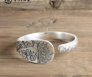 sterling silver bracelets, pure silver jewelry, and lotus carving bracelets image