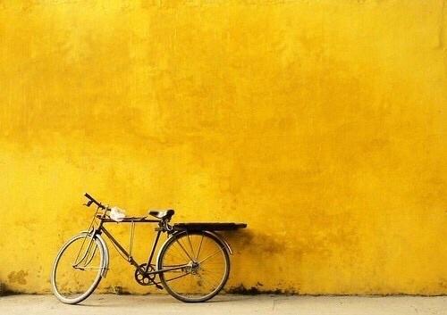 yellow, bike, and bicycle image