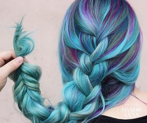 beauty, blue hair, and braid image