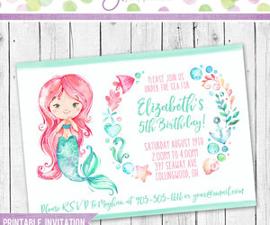 birthday party, girl birthday, and mermaid birthday image