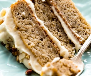 banana, cake, and brown butter cream image