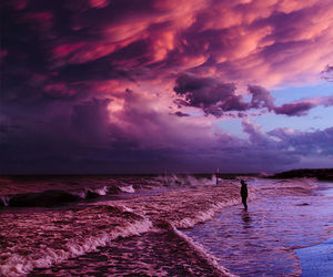 beach, sea, and clouds image