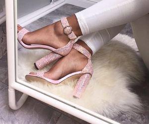 dress, pink heels, and shoe closet image