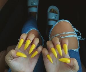 nails, yellow, and nike image