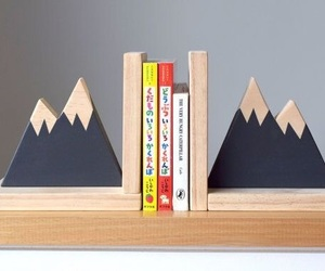 bookends, mountains, and books image