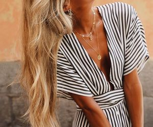 fashion, necklaces, and stripes image