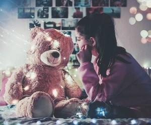 girl, lights, and teddy bear image