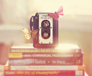 books, butterfly, and camera image