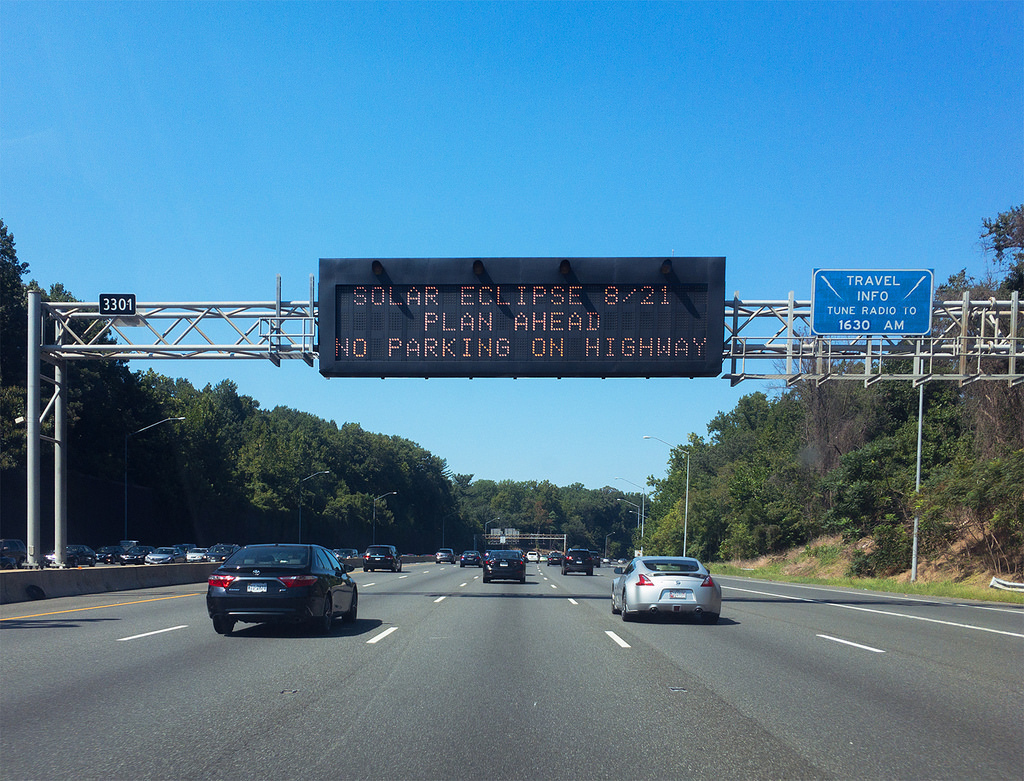 maryland, solar eclipse, and highway sign image