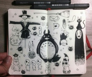 art, drawing, and totoro image